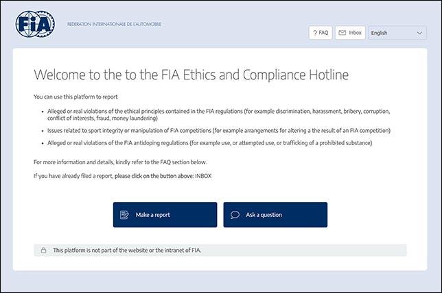 В FIA открыли «горячую линию» для жалоб